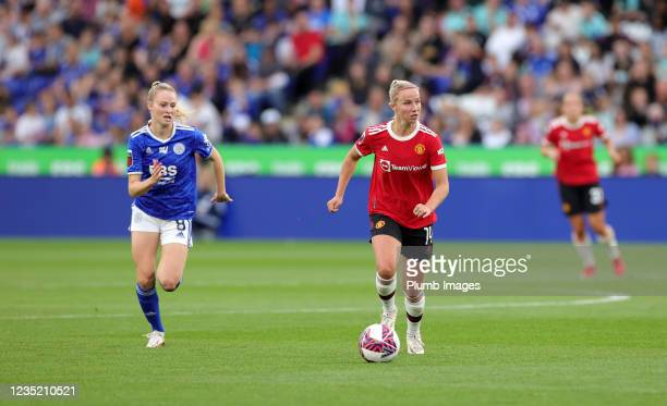 Molly Pike of Leicester City Women in action with Jackie Groenen of Manchester United Women during the Barclays FA Women's Super League match between...
