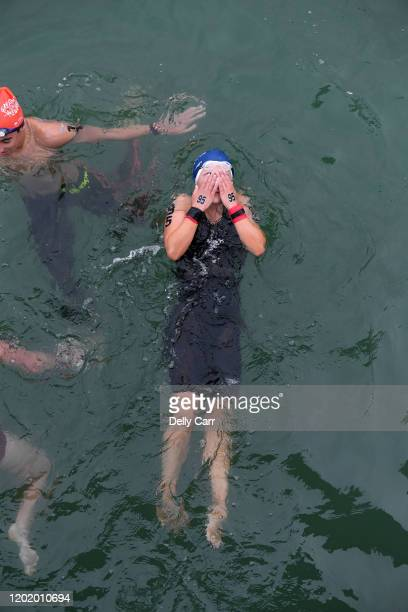 Molly Pollock of Australia relaxes after the 5km raceduring the 2020 Australian Open Water Swimming Championships at Brighton Beach on January 26...
