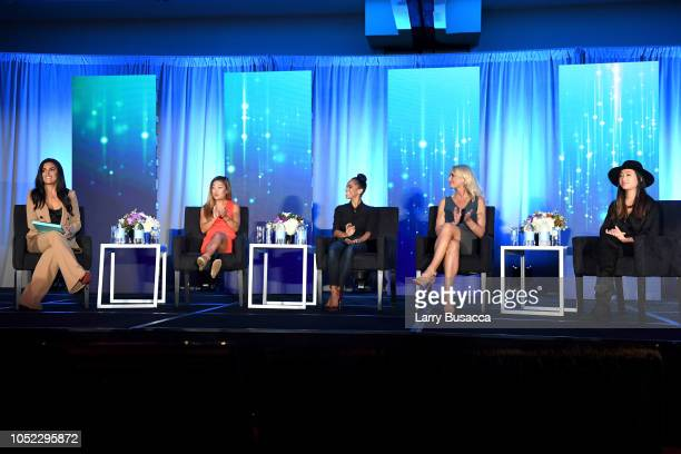 Molly Qerim Rose Scout Bassett Misty Copeland Sarah Kustok and Lisa Wang speak onstage during the WICT Leadership Conference at New York Marriott...
