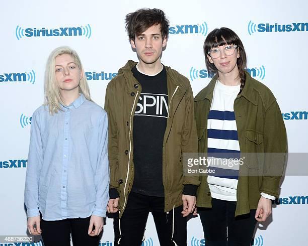 Molly Rankin Alec O'Hanley and Kerri MacLellan of the band Alvvays visit at SiriusXM Studios on April 6 2015 in New York City