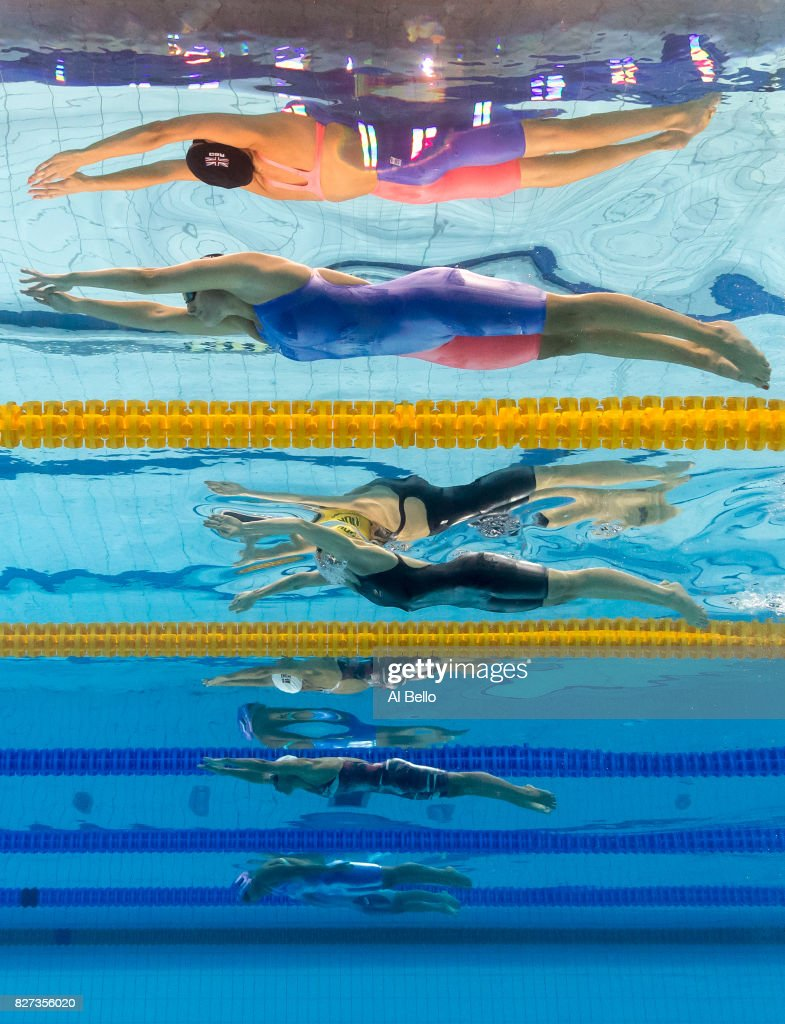 Molly Renshaw of Great Britain, Taylor Mckeown of Australia, Rikke Pedersen of Denmark, Yuliya Efimova of Russia and Satomi Suzuki of Japan compete during the Women's 200m Breaststroke semi final on day fourteen of the Budapest 2017 FINA World Championships on July 27, 2017 in Budapest, Hungary.
