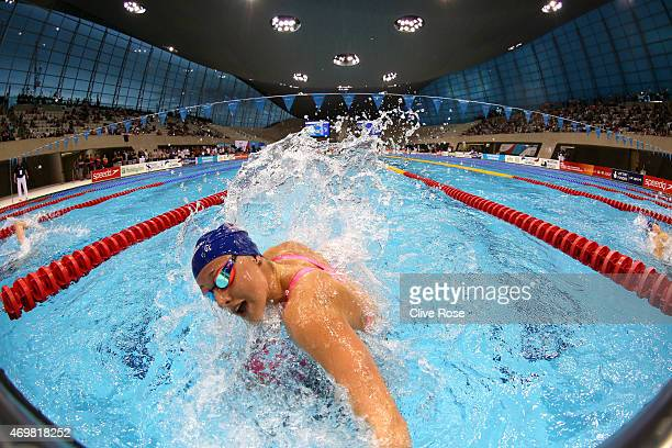 Molly Renshaw of Loughboro University makes a touch turn during the Women's 200n Breaststroke Final on day two of the British Swimming Championships...