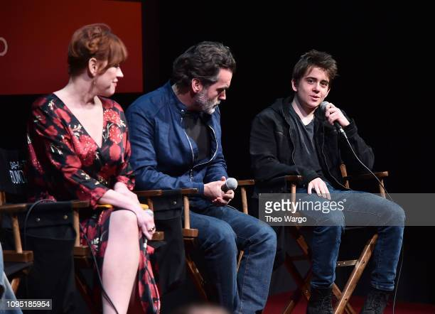 Molly Ringwald Brian D'Arcy and Sam McCarthy attend the SAGAFTRA Foundation Conversation 'All These Small Moments' at The Robin Williams Center on...