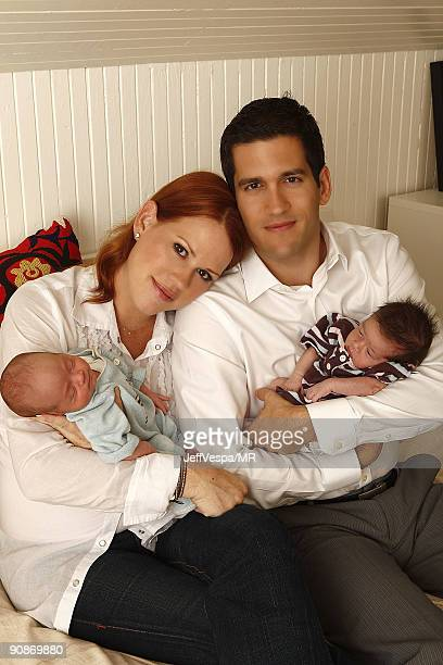 ACCESS* Molly Ringwald her husband Panio Gianopoulos and their new twins Adele Georgina and Roman Stylianos pose during a photo shoot on July 29 2009...