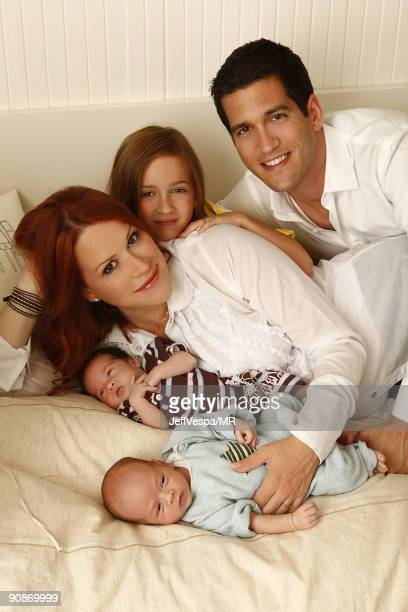 ACCESS* Molly Ringwald her husband Panio Gianopoulos their new twins Adele Georgina and Roman Stylianos and daughter Mathilda Ereni pose during a...