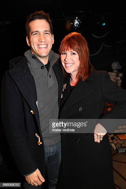 Molly Ringwald with husband Panio Gianopoulos visit Charles Busch the cast of 'The Divine Sister' Backstage at the SoHo Playhouse in New York City