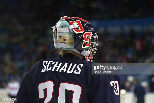 Molly Schaus of United States looks on during the Women's Ice Hockey Preliminary Round Group A game against Switzerland on day three of the Sochi...