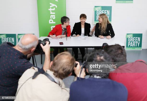 Molly Scott Cato European Union spokesperson and Bristol West candidate for the Green Party left Caroline Lucas coleader of the Green Party center...