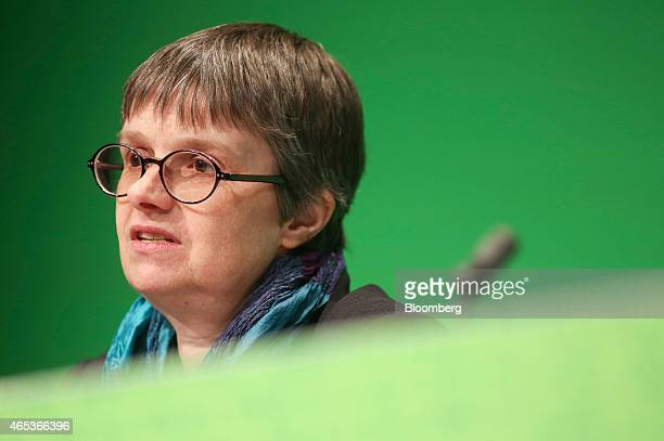 Molly Scott Cato member of European Parliament and finance spokesperson for the Green Party speaks as she addresses delegates during the party's...