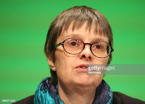 Molly Scott Cato member of the European Parliament and finance spokesperson for the Green Party pauses as she speaks to delegates during the party's...