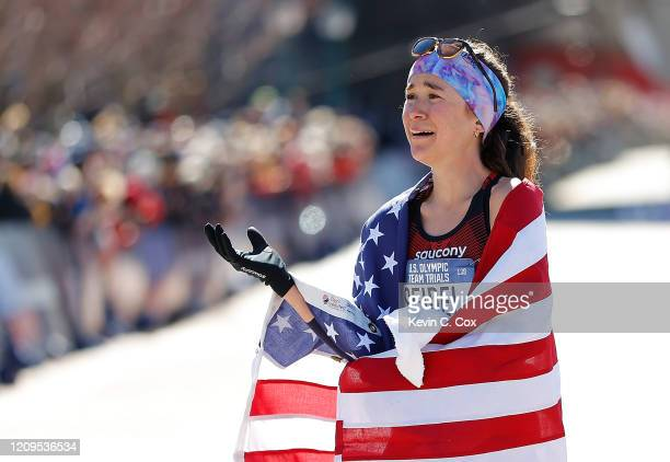 Molly Seidel reacts after finishing second in the Women's US Olympic marathon team trials on February 29 2020 in Atlanta Georgia