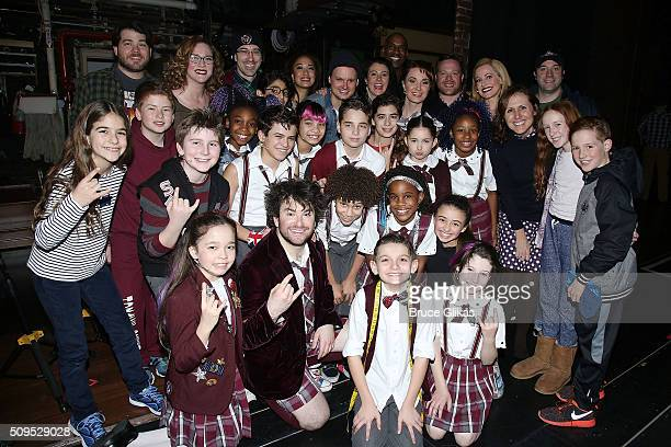 Molly Shannon and kids Nolan Stella Chesnut pose backstage with the cast at the hit musical School of Rock on Broadway at The Winter Garden Theatre...