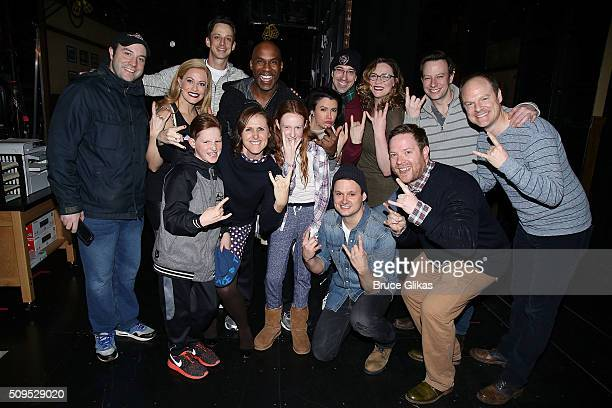 Molly Shannon and kids Stella and Nolan Chesnut pose with the cast backstage at the hit musical School of Rock on Broadway at The Winter Garden...