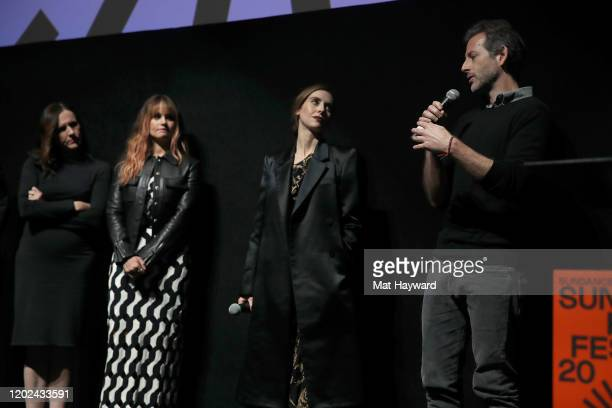 Molly Shannon Debby Ryan Alison Brie and Jeff Baena speak onstage during the Netflix Horse Girl Premiere at The Ray on January 27 2020 in Park City...