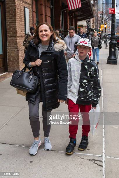 Molly Shannon is seen in TriBeCa with her son Nolan on April 7 2017 in New York New York
