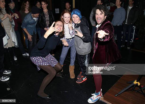 Molly Shannon Stella Chesnut Nolan Chesnut and Alex Brightman pose backstage at the hit musical School of Rock on Broadway at The Winter Garden...