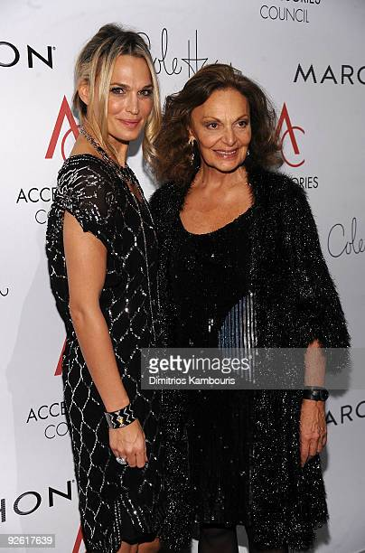 Molly Sims and designer Diane von Furstenberg attend the 13th Annual 2009 ACE Awards presented by the Accessories Council at Cipriani 42nd Street on...