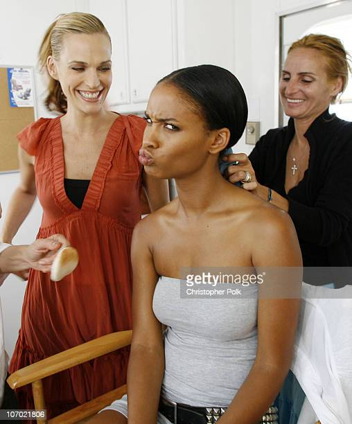 Molly Sims and Joy Bryant during CoverGirl Video Shoot June 9 2006 in 29 Palms California United States