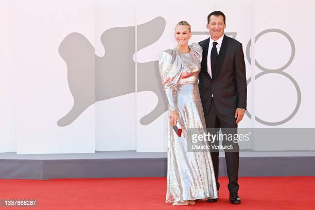 """Molly Sims and Scott Stuber attend the red carpet of the movie """"The Power Of The Dog"""" during the 78th Venice International Film Festival on September..."""