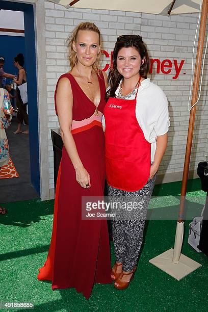 Molly Sims and Tiffani Thiessen attend FIJI Water at Super Saturday Los Angeles CoHosted By Rachel Zoe And Molly Sims at Barker Hangar on May 17 2014...