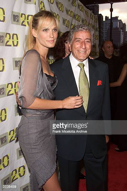Molly Sims and Tony Bennett arriving for the MTV 20th Anniversary party MTV20 Live and Almost Legal at Hammerstein Ballroom in New York City 8/1/01...