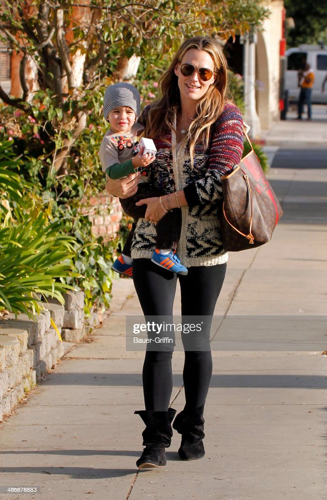 Molly Sims is seen with her son Brooks Stuber on February 04, 2014 in Los Angeles, California.