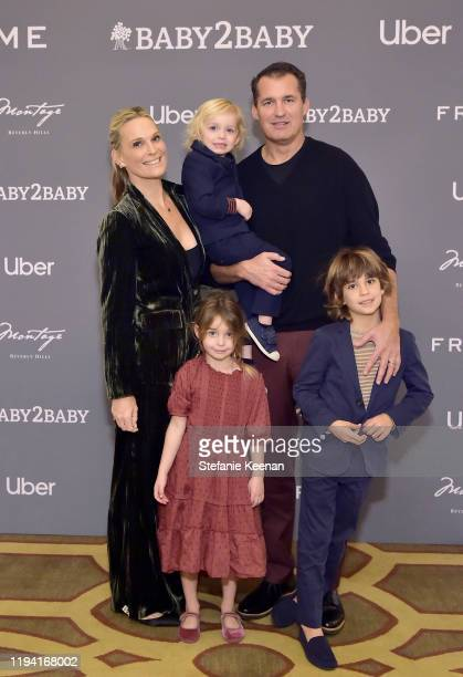 Molly Sims, Scott Stuber and family attend The Baby2Baby Holiday Party Presented By FRAME And Uber at Montage Beverly Hills on December 15, 2019 in...