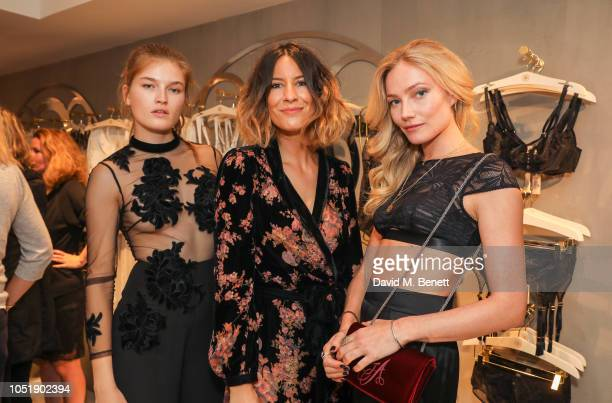 Molly Smith Anna Barnett and Clara Paget attend the Myla relaunch flagship store opening party on October 11 2018 in London England