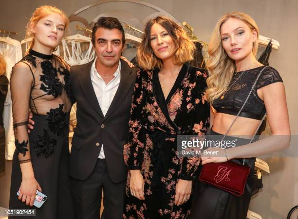 Molly Smith Gregor Pirouzi Anna Barnett and Clara Paget attend the Myla relaunch flagship store opening party on October 11 2018 in London England