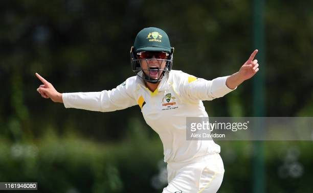 Molly Strano of Australia A celebrates the wicket of Sarah Taylor of England during Day Three of the International Friendly match between England...