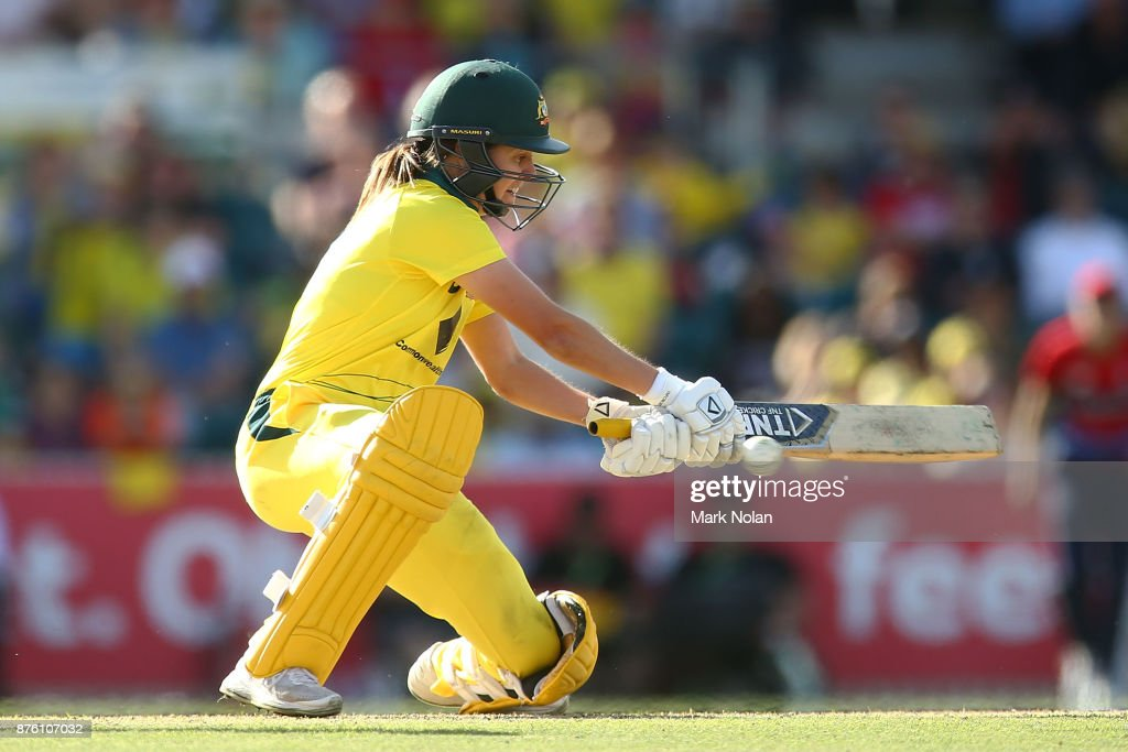Molly Strano of Australia bats during the second Women's Twenty20 match between Australia and England at Manuka Oval on November 19, 2017 in Canberra, Australia.
