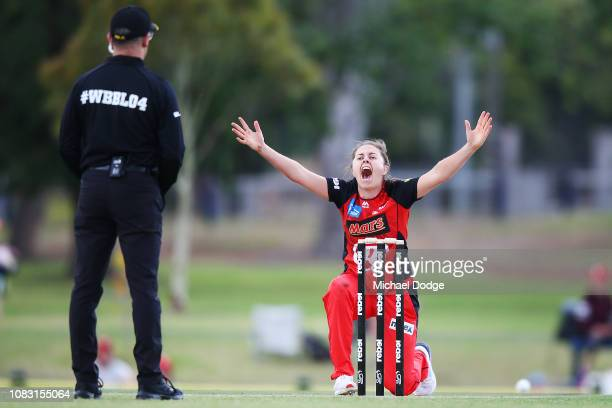 Molly Strano of the Renegades dismisses Sammy-Jo Johnson of the Heat during the Women's Big Bash League match between the Melbourne Renegades and the...