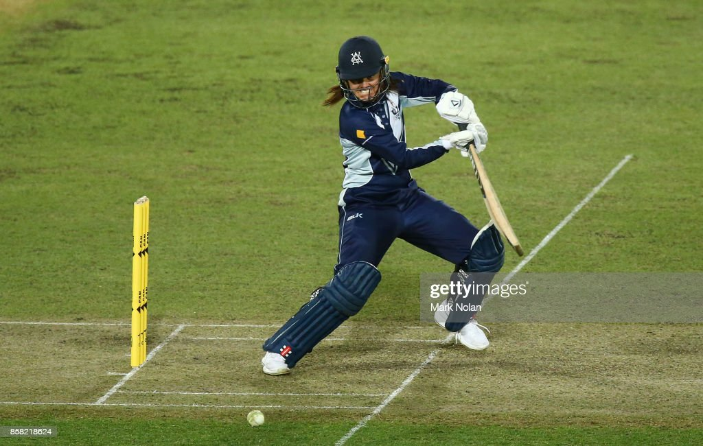 Molly Strano of Vic bats during the WNCL match between ACT and Victoria at Manuka Oval on October 6, 2017 in Canberra, Australia.