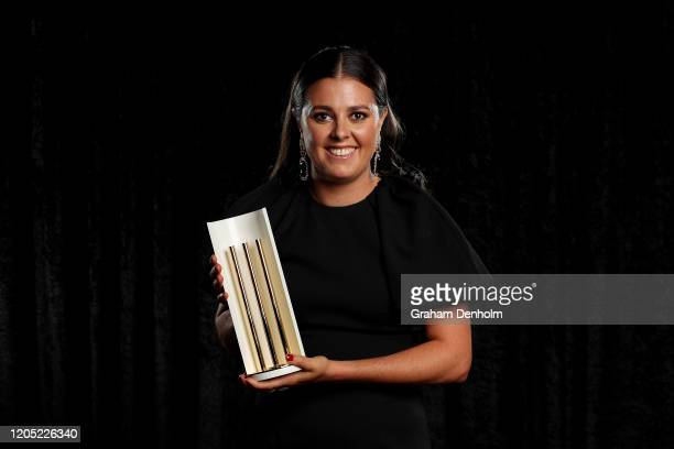 Molly Strano poses with the Women's Domestic Player of the Year award during the 2020 Cricket Australia Awards at Crown Palladium on February 10 2020...