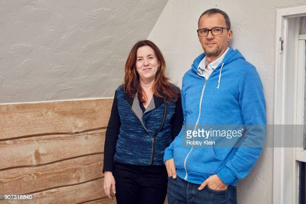 Megan Ferguson and film producer John Battsek from the film 'Studio 54' pose for a portrait in the YouTube x Getty Images Portrait Studio at 2018...