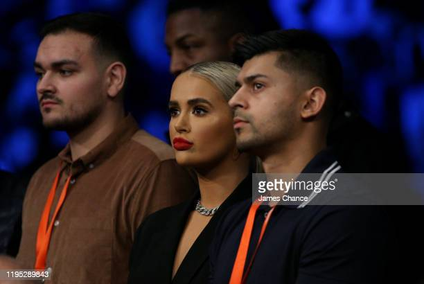 MollyMae Hague girlfriend of Tommy Fury watches on from ringside during the LightHeavyweight fight between Tommy Fury and Przemslaw Binienda at...