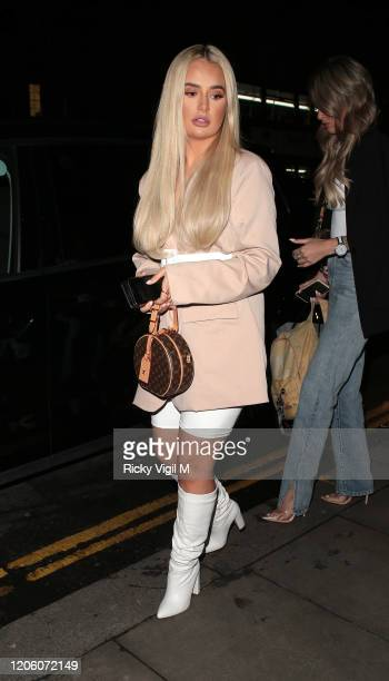 Molly-Mae Hague seen attending PrettyLittleThing x Tatti Lashes dinner at The ivy Chelsea Garden on February 13, 2020 in London, England.