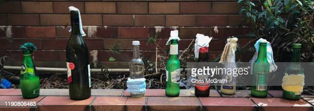 Molotov cocktails are seen on a wall inside the Hong Kong Polytechnic University on November 28 2019 in Hong Kong China The Hong Kong police returned...