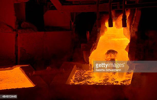 Molten copper is cast into copper anodes in the foundry of Aurubis AG on on February 7 2014 in Luenen Germany Aurubis is Germany's biggest recycler...