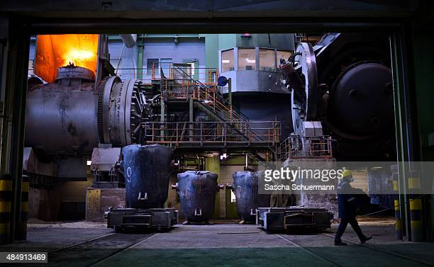 Molten copper is cast into copper anodes in the foundry of Aurubis AG on February 7 2014 in Luenen Germany Aurubis is Germany's biggest recycler of...
