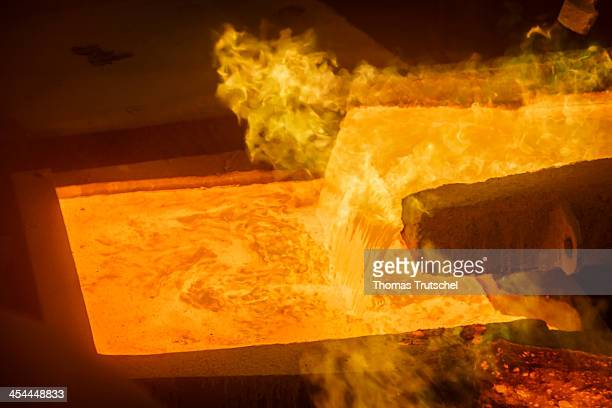Molten copper is cast into copper anodes in the foundry of the Aurubis AG on December 04 in Hamburg Germany Aurubis AG is Europe's largest copper...