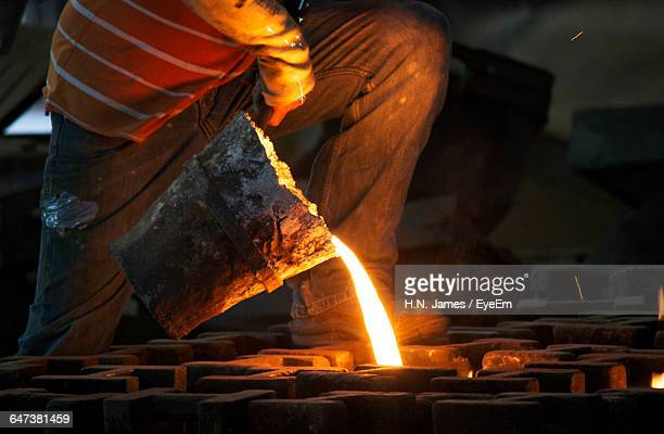 Molten Iron Poured Into Moulds