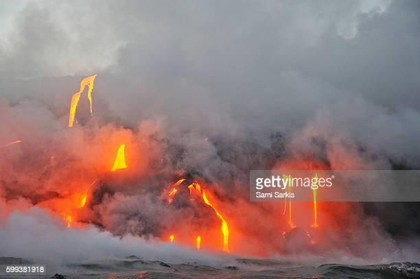 Molten lava flowing to the sea, Kilauea Volcano, Big Island, Hawaii, USA