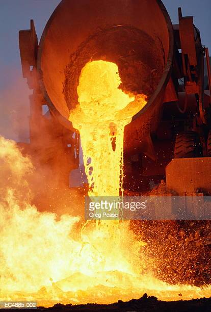Molten steel being poured from slag pot