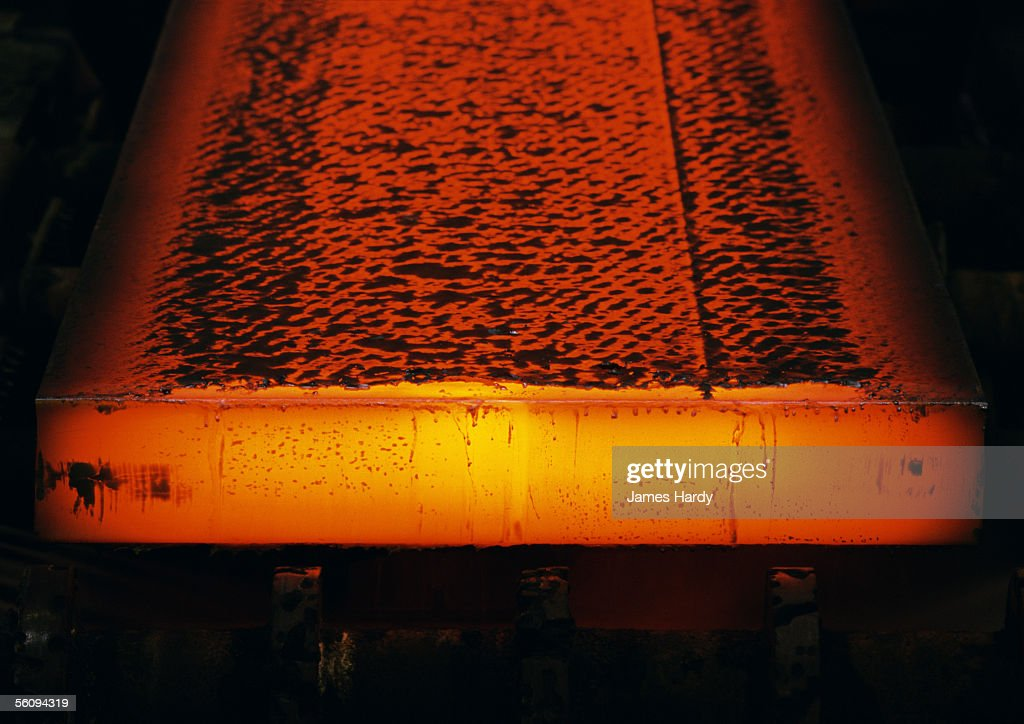 Molten steel, close-up : Stock Photo