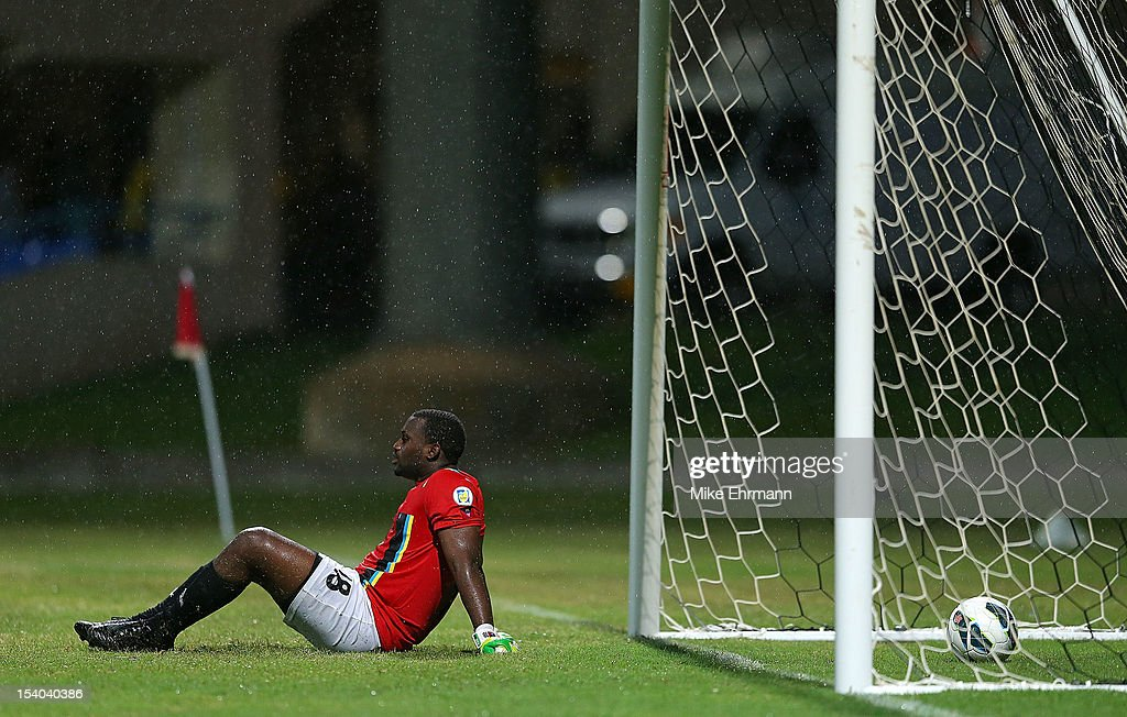 Molvin Alfanson James #18 of Antigua and Barbuda reacts to giving up the go ahead goal during a World Cup Qualifying game against the United States at Sir Vivian Richards Stadium on October 12, 2012 in Antigua, Antigua and Barbuda.