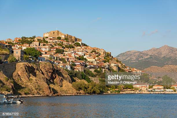 molyvos castle, mithymna, mytilene, lesvos, greece. - lesbos stock pictures, royalty-free photos & images
