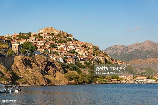 molyvos castle, mithymna, mytilene, lesvos, greece. - lesvos stock photos and pictures