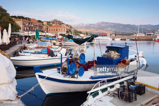 molyvos harbor on lesbos island - marek stefunko stock pictures, royalty-free photos & images