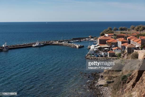 molyvos harbour, mithymna, mytilene, lesvos, greece. - mytilene stock photos and pictures